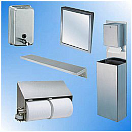 Toilet Paper Dispensers, Liquid Soap Dispensers, Mirrors, Shelves, Wall Panels, Corner Guards and Wall Fixtures for Bathroom and Washroom Units